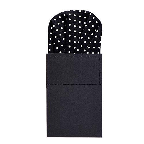DonDon Herren Einstecktuch vorgefaltet für den perfekten Sitz - Schwarz mit weißen Punkten (Schwarzes Einstecktuch)