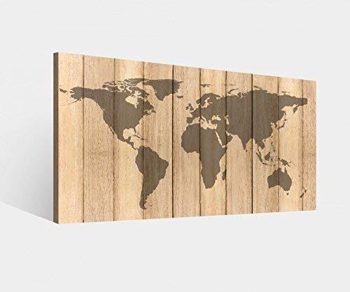 Leinwandbild Karte Welt Weltkarte Holz effekt braun Landkarte Afrika map alt Leinwand Bild Bilder Wandbild Holz Leinwandbilder vom Hersteller 9W975, Leinwand Größe 1:60x30cm