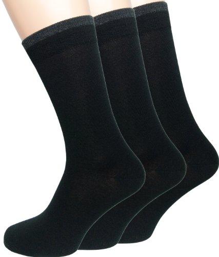 Loonysocks, 3 pares de nuestros mejores calcetines de ejecutivo confeccionados con lana de merino de Ascona súper suave, calcetines de caballero (Negro, 39-42)