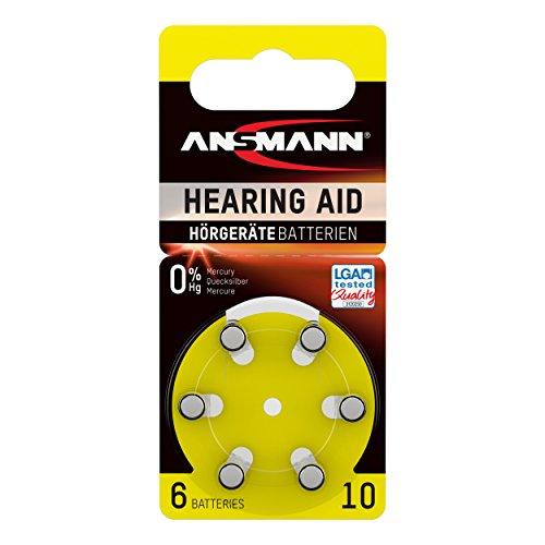 ANSMANN piles pour appareils auditifs / Pack de 1x6 piles zinc-air 1,4V - modéle 10 / Pile bouton pour appareils auditifs présentant une bonne autonomie