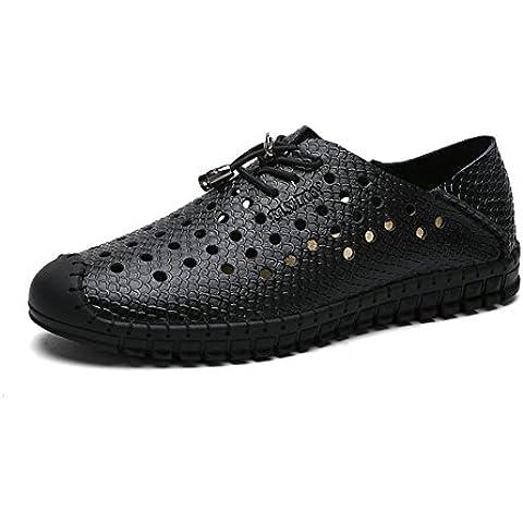 Sandalias de cuero transpirable de los hombres/Perforado de hombre zapatos ocasionales/Fresco en verano y de corte juvenil, zapatos/Zapatos de hombre del
