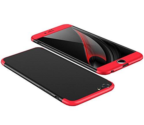 iPhone 6 Hülle, Aostar 3 in 1 Ultra Dünner PC Harte Case 360 Grad Ganzkörper Schützend Handyhülle Case Cover Bumper Schutzhülle Vollschutz Schale für iPhone 6/6s (iPhone 6/6s, Schwarz+Rot) (Rote Und Schwarze Felgen)