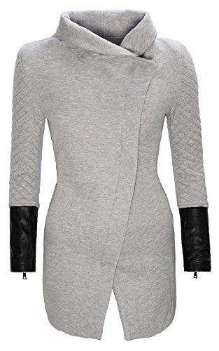 CRAVOG Damen Jacke Mantel lang gesteppte Ärmel Damenjacke Strehkragen warm