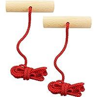 COM-FOUR® Trineo 2x en rojo con mango de madera, 120 cm de largo (V2 rojo - 2 piezas)