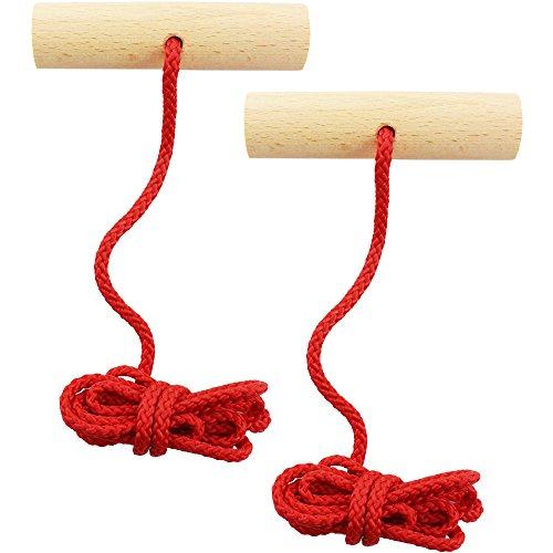 com-four® 2X Schlittenleine in rot mit Griff aus Holz, 120 cm lang (rot V2-2 Stück)