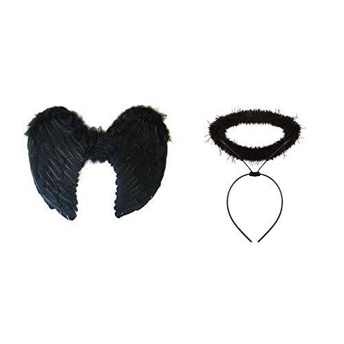 Meetory Gothik Feder Dunkler Engel Feenflügel Halloween Prty Kostüm mit schwarz ()