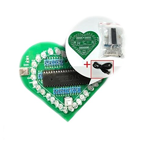 EULAGPRE DIY Kit électronique Forme de Coeur Coloré Module LED Lumière de l'eau 51 Single Chip