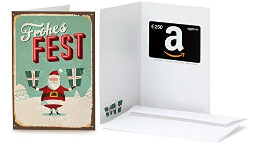 Amazon.de Geschenkkarte in Grußkarte - 250 EUR (Weihnachtsmann retro)