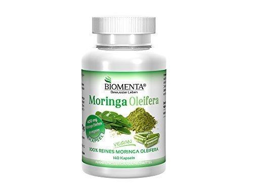 Biomenta MORINGA OLEIFERA – VEGAN – 1.600 mg Moringa-Pulver / Tag – 140 Moringa-Kapseln
