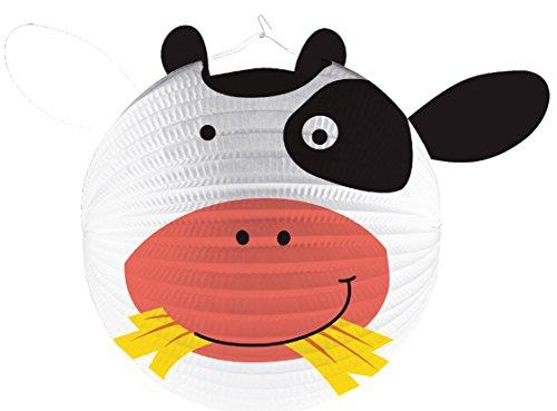Lampion * SÜSSE KUH * als Deko oder Spiel für Kindergeburtstag, Halloween oder Karneval // Mottoparty Motto Party Laterne Farm Bauerhof Tiere