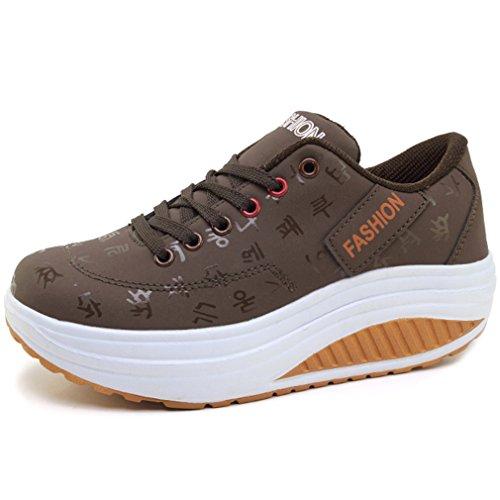 Solshine Damen Fashion Plateau Schnürer Sneakers mit Keilabsatz Walkmaxx Schuhe Fitnessschuhe Braun 41EU