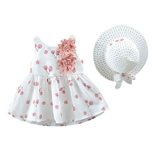 Livoral Mädchen Kirschdruck Prinzessin Kleid + Hut Kleinkind Kinder Baby Kostüm (1 Jahr Alten Panda Kostüm)