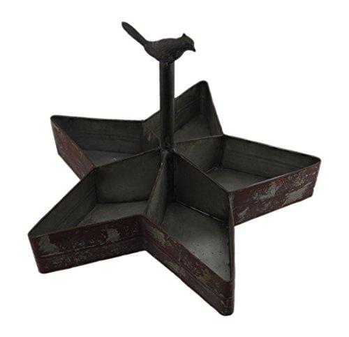 Caddys rot rustikal Vogel auf Star geformte geteilten Metall Organizer 40,6x 27,9x 40,6cm Maroon ()