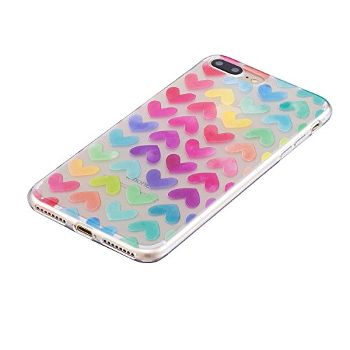 iPhone 7 Plus Hülle, Voguecase Silikon Schutzhülle / Case / Cover / Hülle / TPU Gel Skin für Apple iPhone 7 Plus/iPhone 8 Plus 5.5(Pizza 01) + Gratis Universal Eingabestift Bunt Herzen 11