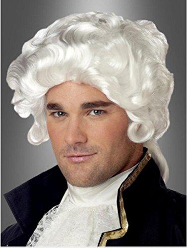 Qubeat parrucche uomini piccolo bianco curly corrugato carnevale carnevale barocco medioevo