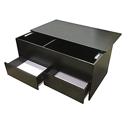 Redstone Slide Top Coffee Table with Storage & Drawers (Black or White) - cheap UK light shop.