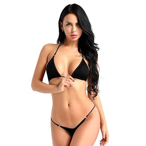 iEFiEL Damen Bikini Set Neckholder Bikini Oberteil BH Bra Micro String-Tanga Dessous Unterwäsche Mini Tankini Badeanzug Bademode Schwarz One Size -