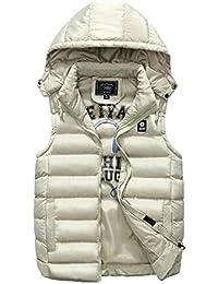 Herren Warme Ärmellose Weste, Winter Dicke Feste Farbe Abnehmbare Hut  Sportjacke,Brown,XL 42953bad36