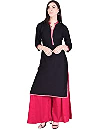 TWIN FEET Cotton Solid V-Neck Straight 3/4th Sleeve Black Women's Casual&Party Wear Kurti With Palazzo (Pack Of...