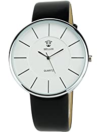 BELLOS - Damen ArmbanduhrSilber Quarz Stahl Analog Display Typ stilvoll Sport Modus Armband schwarz Kunstleder