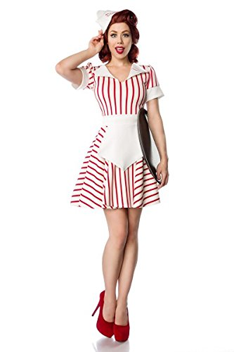 ner Waitress` by MASK PARADISE in Retro Uniform - Wimpelkragen mit Stickerei - breiter Ärmelumschlag - Set: Kleid, Schürze, Schiffchen-Mütze - A80046, Weiss-Rot, 40 (Sw 11) ()