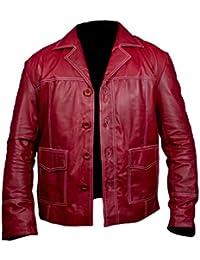 Leatherly Chaqueta de hombre Fight Club Brad Pitt Cuero Chaqueta In Rojo Colour