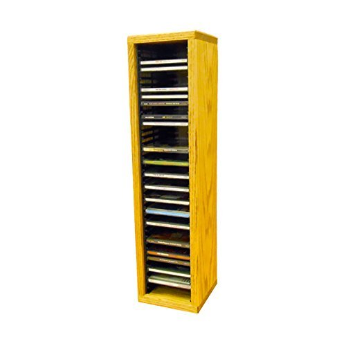 Oak Finish Media (Cdracks Media Furniture Solid Oak Tower for CD Capacity 40 CD's Honey Finish (Individual Locking Slots) by CD Racks)