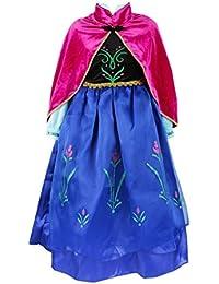 NICE SPORT Robes Enfant Princesse Anna La Reine des Neiges Cosplay Costume Déguisement Cadeau Anniversaire/Noël/Carnaval/Halloween