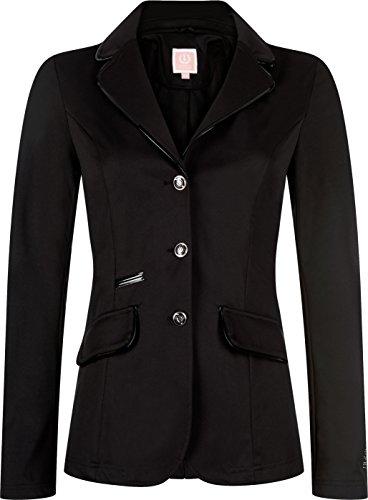 Turnierjacke Simply Dutch, schwarz mit Lackrand, Strasssteine, edeles Turnierjacket, Turnierbekleidung (schwarz, 42)