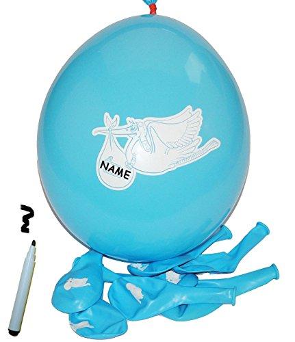 alles-meine.de GmbH 24 TLG. Set _ Luftballons –  Storch mit Baby – blau  – mit Namen zum Beschriften – Ballon für Helium oder Luft – Kinder / Jungen – zur Geburt / Willkommen -..