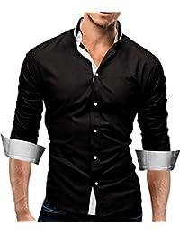 MERISH Hommes Chemise business SlimFit Manches longues avec contrastes de couleurs parfait pour toutes les occasions Modell 03