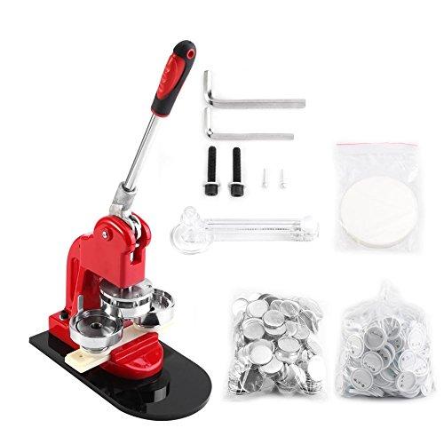 Drehen Buttonmaschine Badge Maker Maschine Button Pin Maker mit 1000 Kreisknopf Teile und Kreisschneider, 2.5cm/5.8cm Wahlweise (5.8cm) -