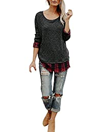 LILICAT Women New Lattice Pullover, Women Plaid Lattice Patchwork O Neck Long Sleeve Irregular Tops Blouse T-Shirt Dress Fashion Daliy Casual