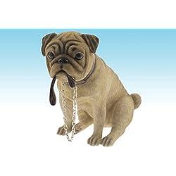 Pequeño perro carlino de peluche sentado figura de perro estudios Leonardo Collection