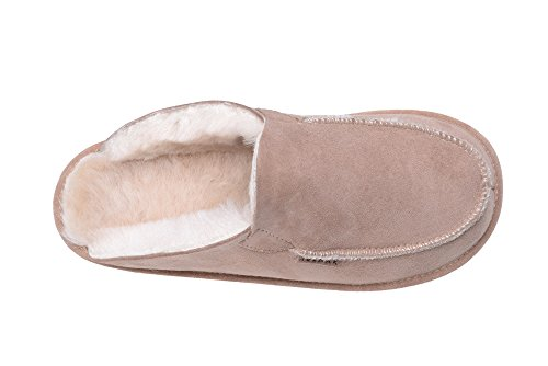 Damen, Herren Natur Lammfell Luxus Maultier Hausschuhe/ Pantoffeln Beige/Weiß