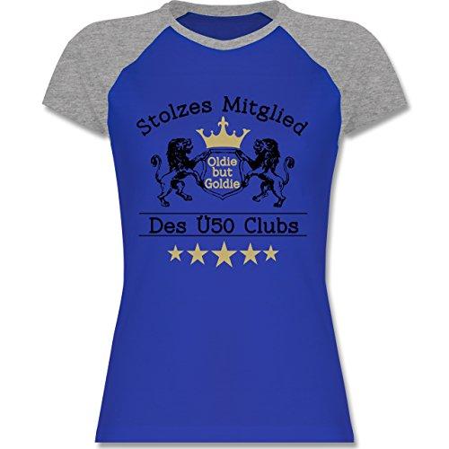 Geburtstag - 50. Geburtstag Stolzes Mitglied Des Ü50 Clubs - Zweifarbiges Baseballshirt/Raglan T-Shirt für Damen Royalblau/Grau meliert