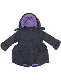 Girls Winter Coat Charcoal Grey / Lilac Inner Fury Fined Hood Ex-Store School Coat 12m - 7Y