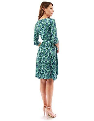 PattyBoutik Damen geometrisches faux wrap Sonnenkleid mit V-Ausschnitt grün, blau und rosa