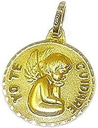 Medalla para bebe de oro amarillo de 18Ktes.13mm Never say never