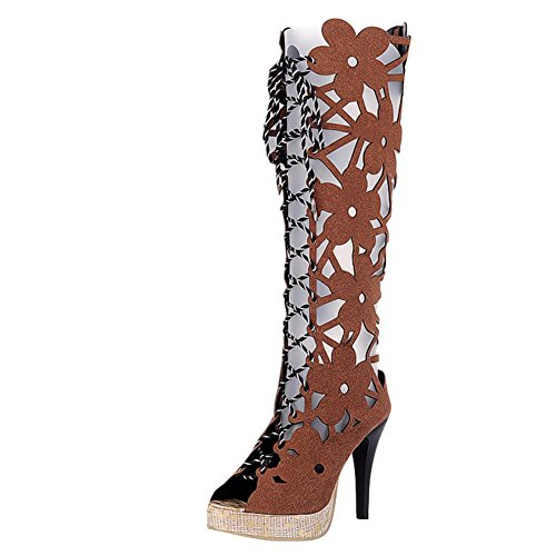 TAOFFEN Damen Mode Stiletto Langschaft Stiefel Schnürung Sandalen Braun