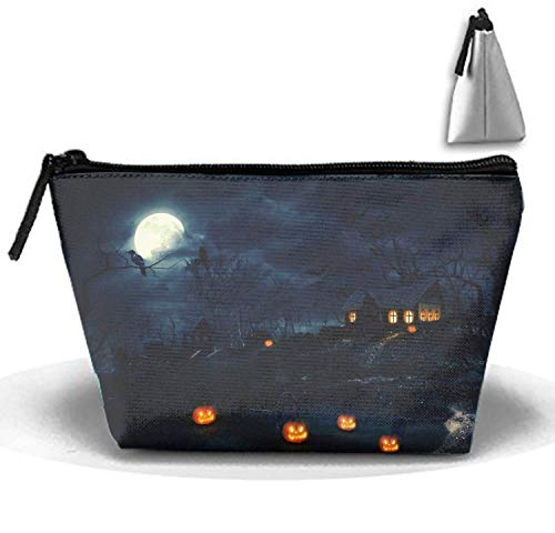 Night House Street Cosmetic travel Bag, Waterproof Toiletry Clutch Pouch Beach Trapezoid Handbag Organizer