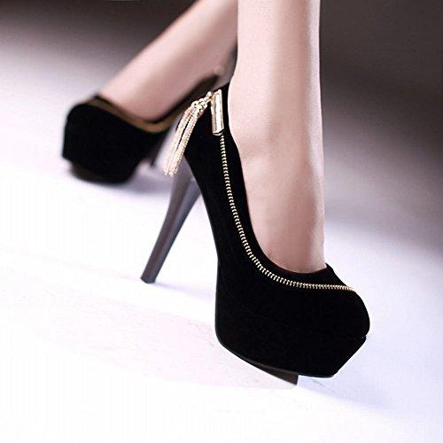 Mee Shoes Damen elegant Stiletto Nubukleder mit Metalldekoration Party Schuhe Knöchelriemchen Plateau Pumps Schwarz
