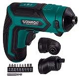 VONROC - Taladro atornillador inalámbrico (4 V, con soporte magnético para puntas, accesorio excéntrico, acodado, juego de puntas y cargador de batería)