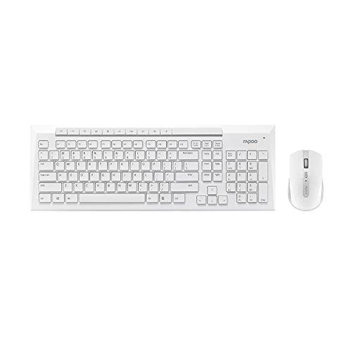 Rapoo 8200P kabellose Tastatur mit Maus (5 GHz Wireless Combo Set, optisch, 1000 DPI, 6 Tasten, 4D Mausrad, Multimedia, QWERTZ deutsches Layout) weiß