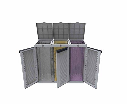 *Hier passt viel rein! XXL 3-Türen Gartenschrank mit drei Halterungen für Müllsäcke und Recycling. Frontseitig und von Oben zu öffnen. In neutralem Grau.*