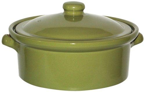 Amazing Cookware Cocotte en terre cuite avec couvercle Vert olive 1l