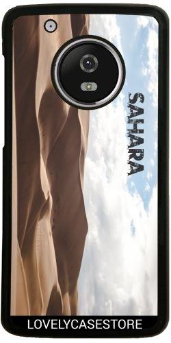 Hülle für Lenovo (Motorola) Moto G5 Plus - Wüste Sahara Sky Blue Arid Dürre Düne Oase