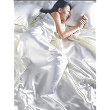 O cama de matrimonio de raso para cama de matrimonio de seda crema/marfil 6 piezas Juego de funda de edredón, sábana bajera + 4 fundas de almohada