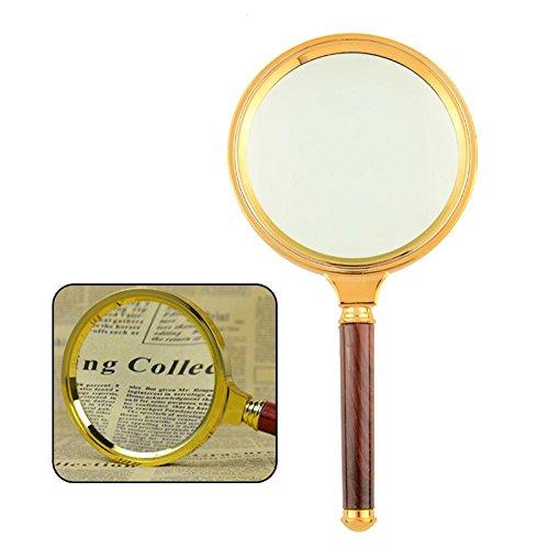 Goliton® Gioielli 80 millimetri Handheld Wooden 10X Magnifier Magnifying Glass Loupe di lettura
