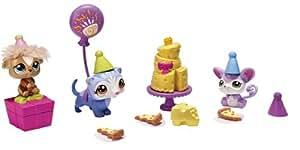 Littlest PetShop - 38047 - Mini-Poupée - 3 Petshop & Accessoires - L'Anniversaire : Cochon D'Inde, Souris et Furet
